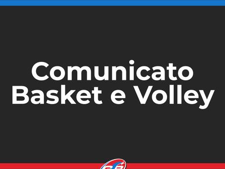 Comunicato Basket e Volley