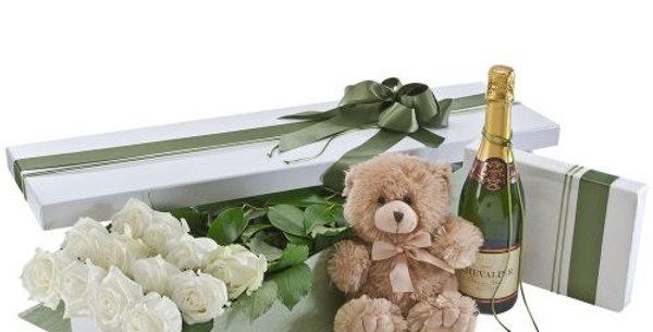 Forever & Always | Roses, Bear, Wine, Chocs