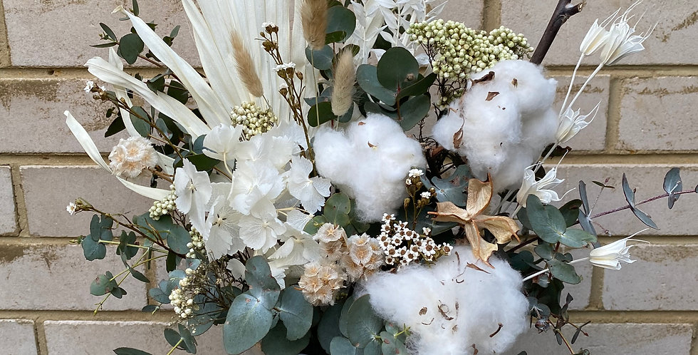 Cotton and Hydrangea Clouds | Dried Arrangement