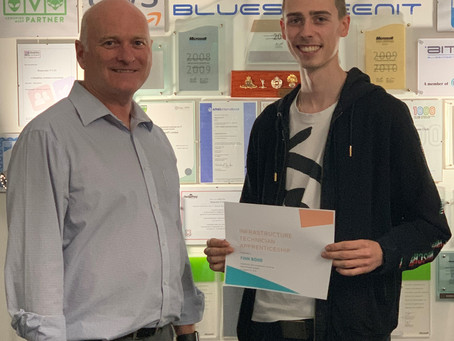 Finn lands his BCS Infrastructure Technician Apprenticeship
