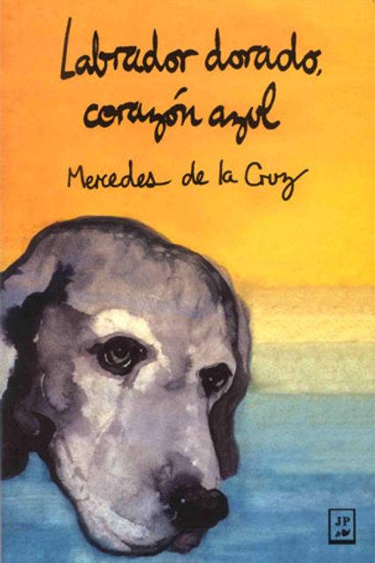 Labrador dorado, corazón azul