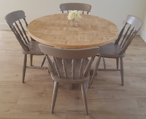 Oak Parquet Dining Table with Four Dining Chairs