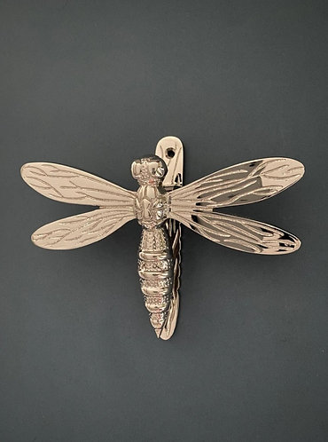 Brass Dragonfly Door Knocker- Nickel Finish