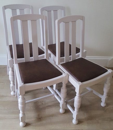 Four vintage solid oak dining chairs