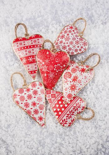 Handmade Red and White Tin Heart