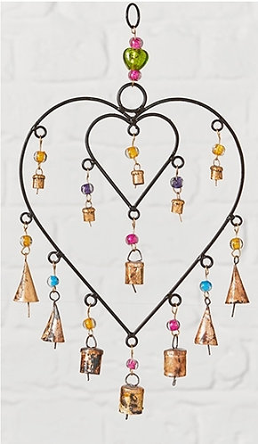 Double heart windchime with beads