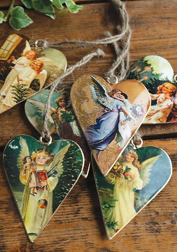 Vintage Tin Heart Shape Angel Decoration