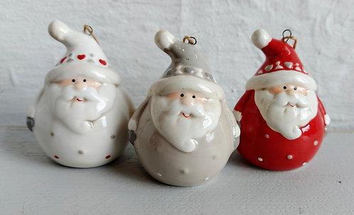 Set of Three Ceramic Santa Baubles