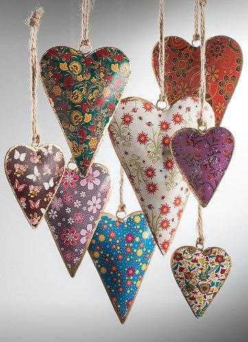 Floral Design Metal Hanging Heart