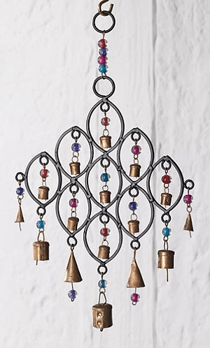 Recycled Iron Windchime with Bells and Beads