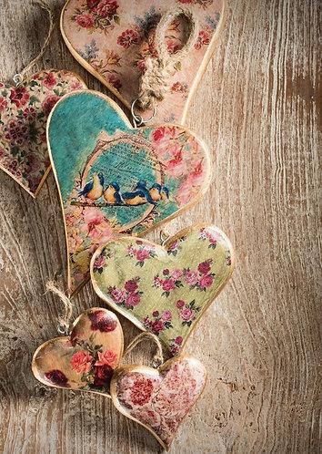 Vintage Wooden Floral Hearts