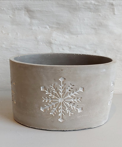 Concrete Oval Pot with Snowflake Design