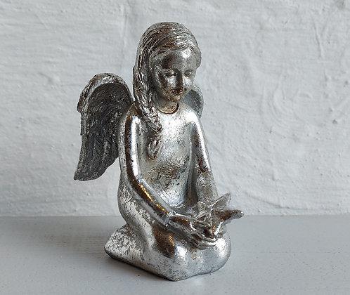 Antique Silver Sitting Angel