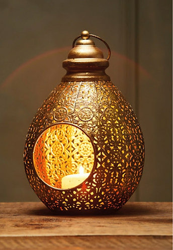Antique Gold Finish Teardrop Lantern