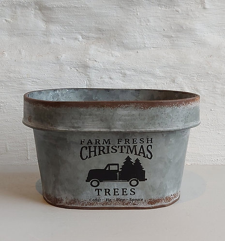 Metal Trough 'Farm Fresh Christmas'