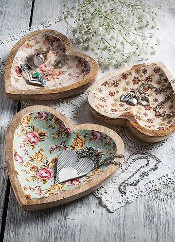 Mango Wood Floral Heart Platters