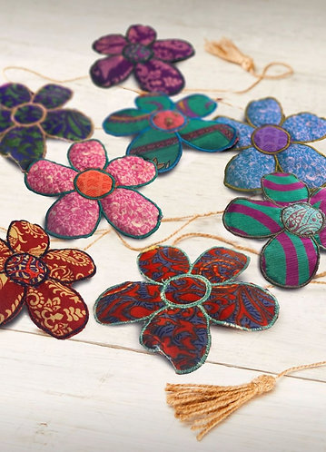 String of recycled sari flower bunting