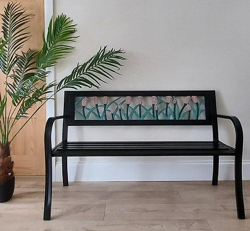 Garden bench with tulip design