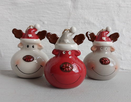 Set of Three Ceramic Reindeer Baubles