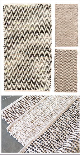 Zig-zag recycled cotton, leather and jute rug