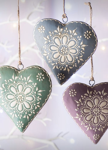 Hand Painted Wooden Hanging Hearts
