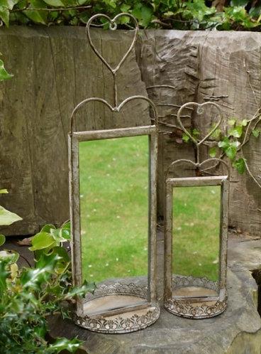 Indoor / Outdoor Heart Mirror/ tea light holder