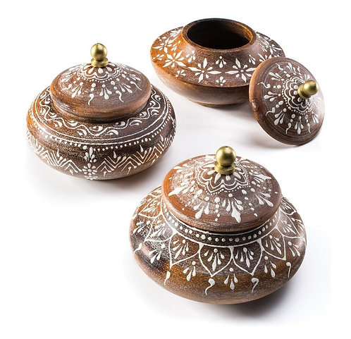 Painted Round Wooden Trinket Pot