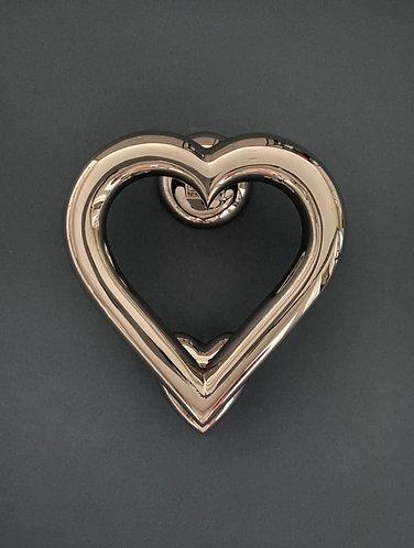 Brass Heart Door Knocker- Nickel Finish