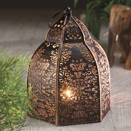 Black and copper effect iron lantern