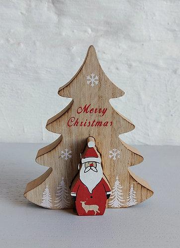 Wooden Tree with Novelty Santa
