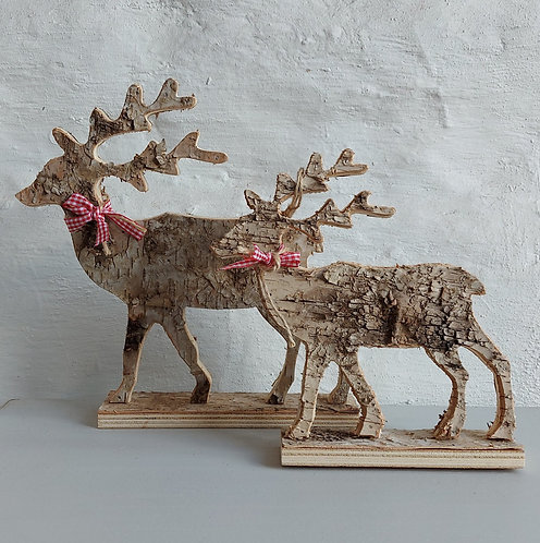 Standing Birch Bark Reindeer - Two sizes available