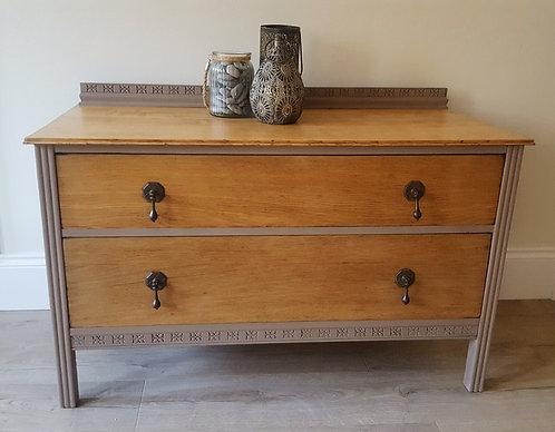 Vintage Oak Two Drawer Unit