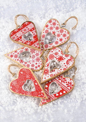 Handmade Wooden Heart Decoration with Bell