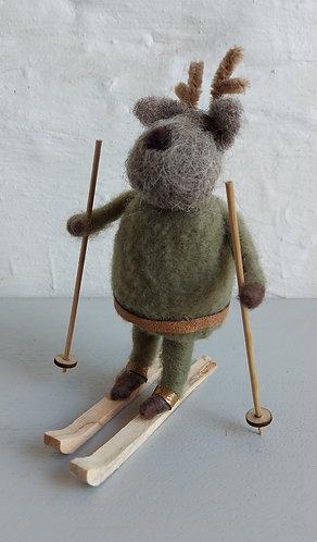 Wool Reindeer on skis