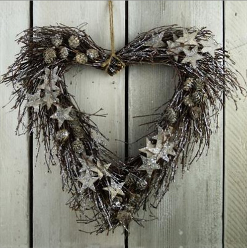 Glittery Twig Heart Wreath