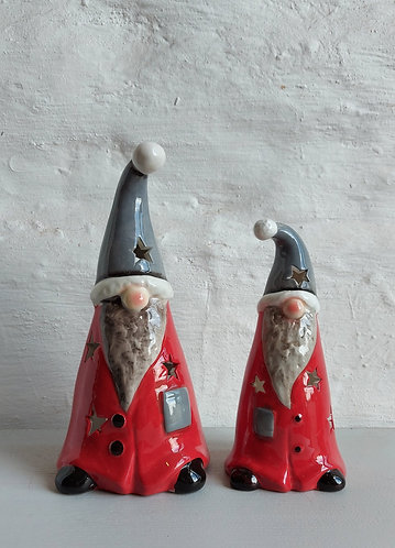 Ceramic Gnome Tealight Holders - Two sizes available