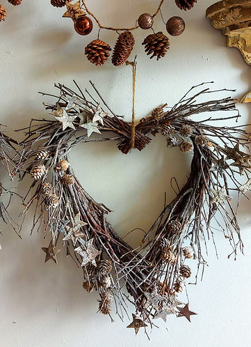 Twig Heart Wreath with Stars and Pine Cones