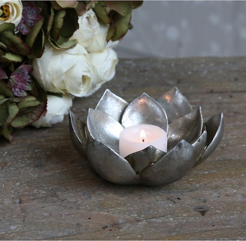 Antique Silver Flower Tealight Holder