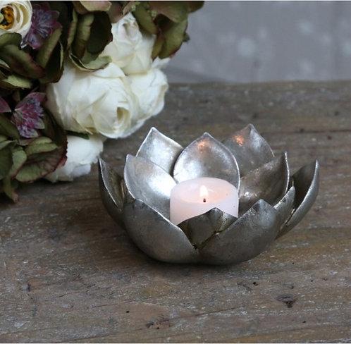 Antique Silver Flower Tealight Holder