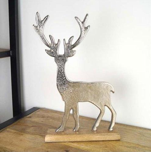 Aluminium Reindeer on Wooden Base