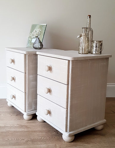 Pair of Pine Bedside Three Drawer Units