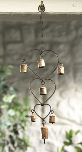 Recycled iron heart and bells windchime with