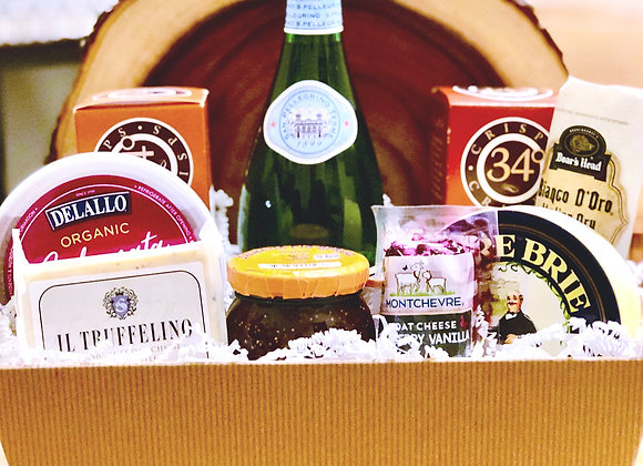 Luxury Sparkling Water and Cheese Gift Basket