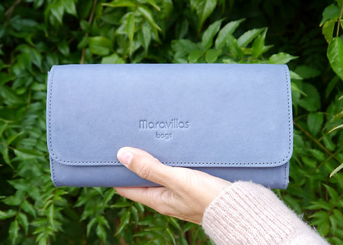 Maravillas Bags, Lloseta, clutch, wallet, blue, vegetable tanned, leather, handcrafted in Mallorca, Spain