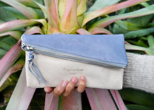Maravillas Bags, Sara, fold over clutch, two colors, blue, grey, eco leather purse, vegetable tanned, handcrafted in Spain