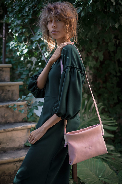 Maravillas Bags, Marineta, small cross body bag, eco leather, vegetable tanned, rose, pink, handmade in Mallorca in Spain
