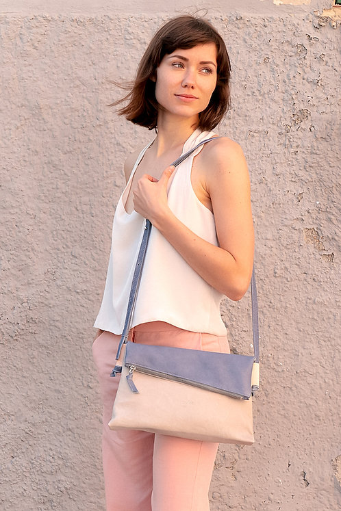 maravillas bags, fold over bag, eco leather, blue and light grey, handmade in Mallorca Spain, traditional handbag, new design