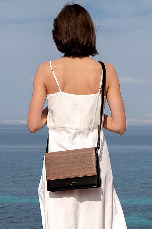 maravillas bags, wood bag, Pinatex, eco leather, vegan handbag, Oslo, brown, handcrafted Spain, handmade in Mallorca
