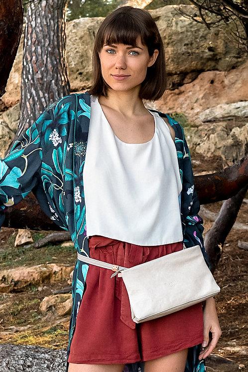 maravillas bags, Paris multi bag, light grey, bumbag, hip bag, clutch, cross body bag, handmade, Mallorca, Spain, eco leather