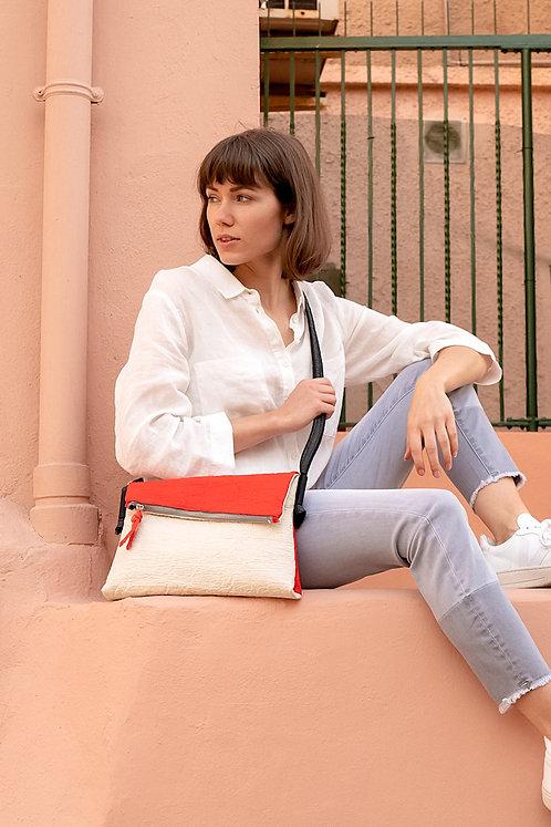 maravillas bags, pinatex bags, red and natural, pineapple leather, fold over bag, vegan handbag, handmade Mallorca, Spain
